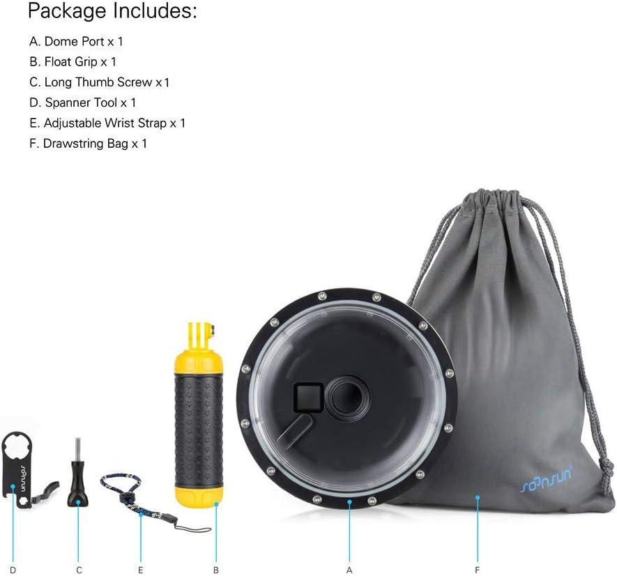 6 5 SOONSUN Port d/ôme sous-Marin avec bo/îtier /étanche pour GoPro Hero 3 3+ 7 8 cam/éras daction 4
