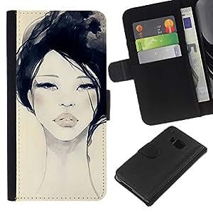 For HTC One M7 Case , Watercolor Woman Black Fashion - la tarjeta de Crédito Slots PU Funda de cuero Monedero caso cubierta de piel