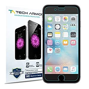 iPhone 6S Screen Protector, Tech Armor High Definition HD-Clear Apple iPhone 6S / iPhone 6 (4.7-inch) Screen Protector [3-Pack]