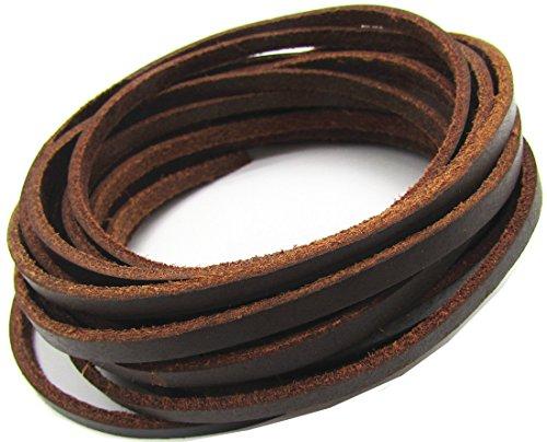 4.0mm Flat Genuine Leather Strip Cord DIY Rope Strings Bracelet Necklace Cord 5 Meters (Brown)