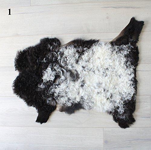 BLACK WHITE CURLY HAIR FUR KID GOAT PELT HIDE TEDDY BEAR FUR by ELuxury Home
