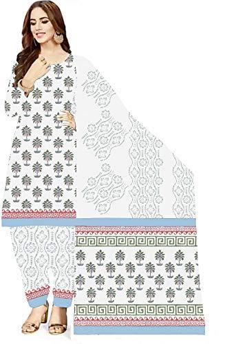 NEW COTTON CURIO Women's Cotton Printed Unstitched Salwar Suit Dress Material (White, Light Blue, Free Size-105)