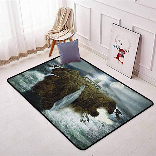 Lighthouse Regional Round Carpet Island with Lighthouse Rocks Stormy Sea Crashing Waves Full Moon Beams Non-Slip Easy to Clean W35.4 x L47.2 Inch Gray White Brown