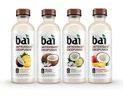- Bai Coconut Flavored Water, Cocofusions Variety Pack II, 18 Fluid Ounce Bottles, 12 count, 3 each of Andes Coconut Lime, Madagascar Coconut Mango, Molokai Coconut, Puna Coconut Pineapple