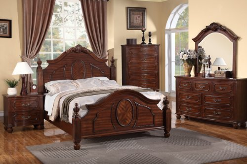 ion cherry finish wood queen intricately carved headboard and footboard bed set (Cherry Set Footboard)