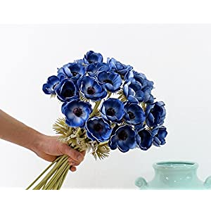5Pcs Artifical Real Touch PU Anemone Flower Bouquet Room Home Decor (Blue) 5