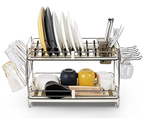 Miusco 2 Tier Stainless Steel Dish Rack with Wine Glass Holder and (14h Set)