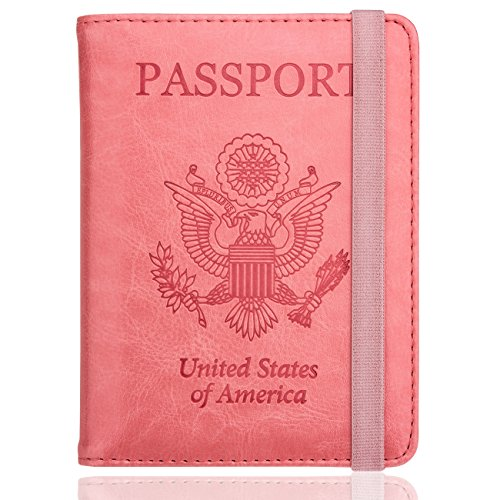 WALNEW RFID Passport Holder Cover Traveling Passport Case (Pink)