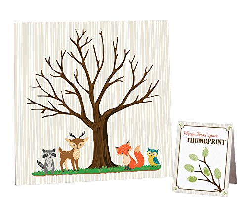 Lillian Rose Woodland Baby Shower Guest Signing Canvas, Neutral, 11.75'
