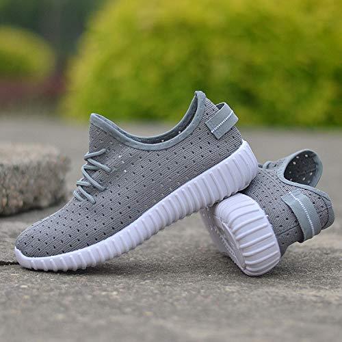 Hasag Zapatos gray Volante Mujer de de Casual Deportivos Sandalias Zapatos Tejido Respirable Moda de Zapatos SwASpaq