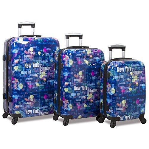 Rolite Lumos Night Lights 3-Piece Lightweight Hardside Spinner Luggage Set, Destination by Rolite Company