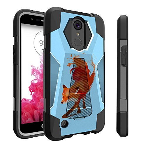 Untouchble Case for LG K20 | LG K20 Plus | LG K10 (2017) | LG Grace | LG V5 Case [Traveler Series] Combat Shockproof Dual Layer Hybrid Case with Kickstand - Blue Fox