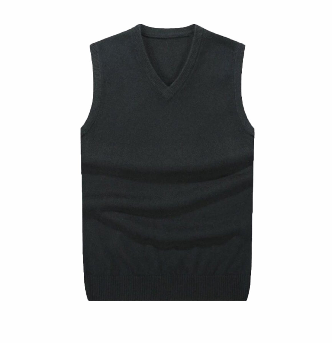 Albee Yang Men's Cashmere Vest Warm Slim Fit V-Neck Knitwear Vest Sleeveless Pullover Tops Wool Sweater Jacket Coat Solid Color Blouses (M, Black)