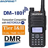 BaoFeng DM-1801 DMR and Analog VHF/UHF Dual Band Dual Time Slot DMR Ham Amateur Two Way Radio 1024 Channels Tier I & II Compatible with MOTOTRBO, Free Programming Cable