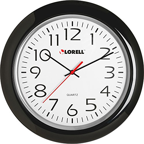 Lorell 60989 Wall Clock, 13-1/4, Arabic Numerals, Black Frame