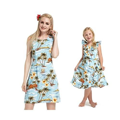 Fait à Hawaï Correspondance Mère Fille Luau Wrap Robe en bleu floral en blanc XL-2