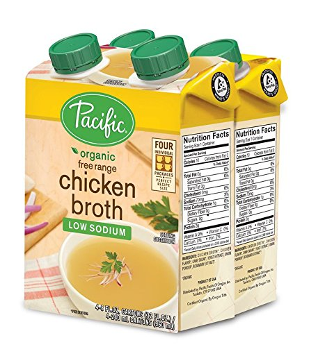 Pacific Foods Organic Free Range Low-Sodium Chicken Broth, 8-Ounce Cartons, 4 Count (6-Pack) (Soup Sodium Low Chicken)
