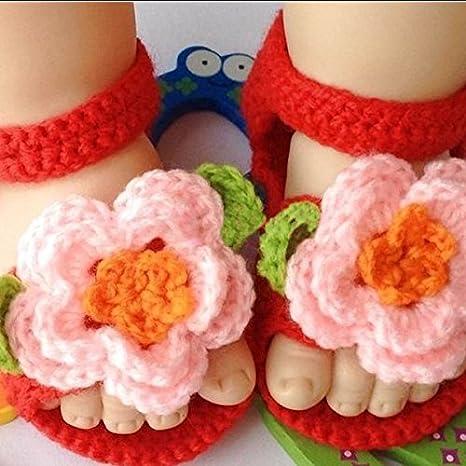 LEORX recién nacido unidad lernschuhe Niños niña mano gestrickte lana ganchillo Cuna Zapatillas Sandalias (Rosa