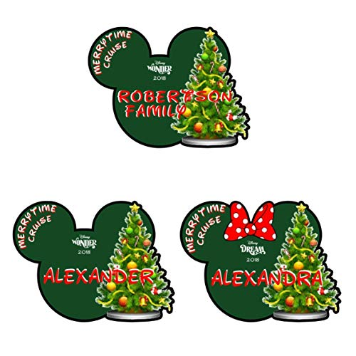 Large Personalized Christmas Tree Magnet | Disney Merrytime Cruise Magnet ()
