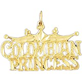 14K Yellow Gold Colombian Princess Pendant Necklace - 22 mm