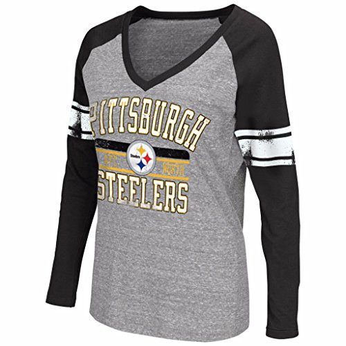 NFL Women's G-III 4her Tri-blend Distressed Logo V-Neck Long Sleeve T-Shirt (Large, Pittsburgh Steelers)