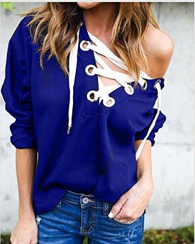 Camicetta Donna T Lunga Blu Collo M Sexy Maglietta Manica Cappuccio blu shirt Maglia V Swallowuk RBdqXR