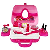 SFL 12 Pieces Beauty Make-Up Set for Kids Girls Pretend Play Toy Trendy Beauty Carrycase for Children 3 Years Old and Up Early Education