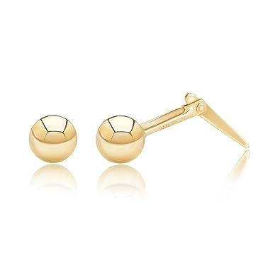 9ct yellow gold Andralok 5 mm ball stud earrings / Gift box included NTanmiu1D