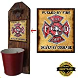"""Firefighter"" Hero Bottle Opener and Cap Catcher – Handcrafted by a Vet – 100% Solid Pine 3/4″ Thick – Rustic Cast Iron Bottle Opener and Galvanized Bucket – To empty, twist the bucket! Great Gift!"