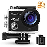 Crosstour Action Camera 4K Wi-Fi Ultra HD Waterproof 2' LCD 30m Underwater Camera 170°Wide-angle with 2 Rechargeable 1050mAh Batteries and Accessory Kits for Cycling Swimming Snorkeling