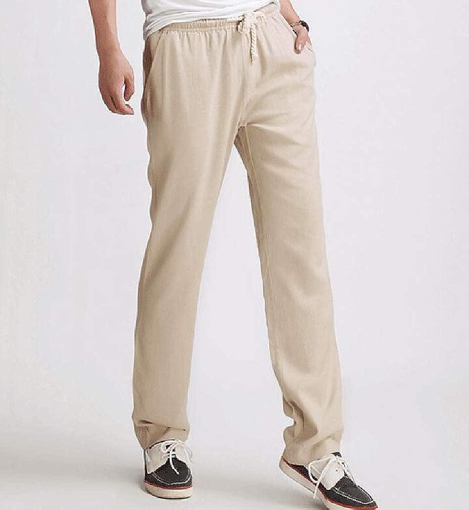 Etecredpow Mens Casual Drawstring Summer Linen Straight Fit Elastic Waist Pants