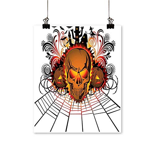 1 Piece Wall Art Painting Angry Skull Face B fire Spirits Other World cept Bats Spider Web Living Room Office Decoration,12