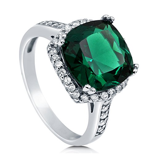 BERRICLE Sterling Silver Cushion Cut Simulated Emerald Cubic Zirconia CZ Halo Womens Cocktail Ring