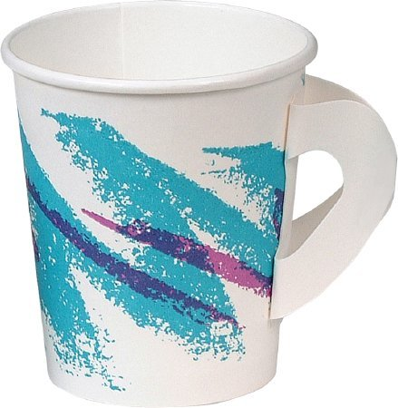 SOLO Cup Company Jazz Hot Paper Cups with Handles, 6 oz., Polycoated, Jazz Design, 50/Bag - 20 sleeves of 50 cups. 1000 per case.