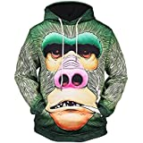 ღ Ninasill ღ Mens Autumn&Winter Printed Long Sleeve Hooded Sweatshirt Tops Blouse (XL, Green)