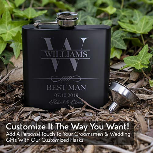 Personalized Flask Set, Groomsmen Gift, Customized Groomsman Flask Comes with Stainless Steel Funnel, Matte Black | Design 9 by nineteen85Studio (Image #3)