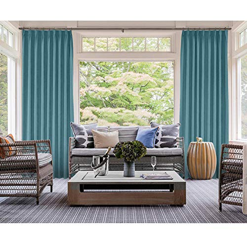 (cololeaf Everglade Teal Cotton Blackout Lined Curtains, 2 Layers Pinch Pleated Curtains Blackout Thermal Insulated Window Treatment Panel for Living Romm Bedroom, 84