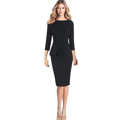 Longra Damen Kleid Elegant Kleider Bleistiftkleid Festliche Kleider Damen  Work Business Kleider Bodycon Tunikakleid Pencil Kleider