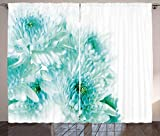 Cheap Ambesonne Aqua Curtains, Fresh Cluster Vibrant Indian Asian Dahlia Flowers Buds Leaves Image, Living Room Bedroom Window Drapes 2 Panel Set, 108 W X 108 L Inches, Blue Light Blue and Turquoise