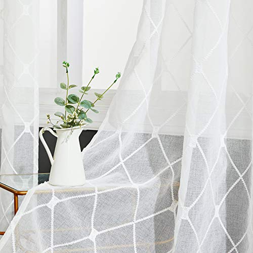 Top Finel White Sheer Curtains 84 Inches Long Embroidered Diamond Grommet Window Curtains for Living Room Bedroom, 2 Panels