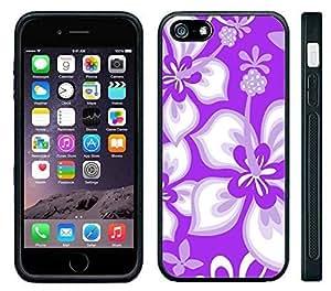 Pink Ladoo? Apple iPhone 6 Black Case - Hibiscus Flowers Purple Pattern Print Hawaiian Tropical Style