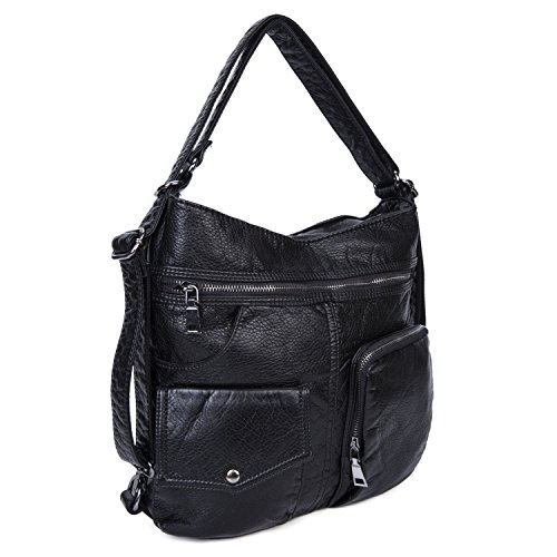 Convertible Women Small Ladies Travel Bag for Black Soft Leather 2 Shoulder Purse for Black Backpack Bag IRxrqwSx