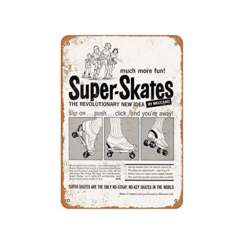 Office Signs Meccano Super Roller Skates Vintage Look Metal Sign 12X16 ()