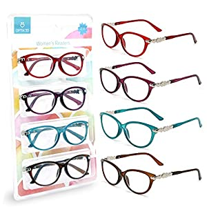 Pack of 4 Women's Reading Glasses - Stylish, Comfortable Ladies' Readers +1 75