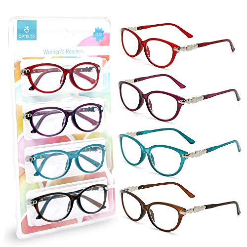 Reading Glasses Women - 4 pack Readers - Stylish, Comfortable Ladies Designer Readers, Magnification Strength + 4.0