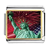 GiftJewelryShop Gold Plated The Statue of Liberty Independence Day Bracelet Link Photo Italian Charm