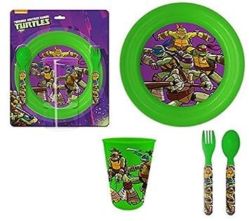 Juego de vajilla infantil de las Tortugas Ninja con una ...