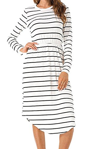 Beach Waist Dress Midi Stripe Casual Women's Loose Summer Elastic 1 Ivory Halife A0wTqXW