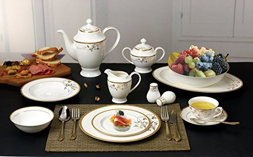 Lorren Home Trends La Luna Bone China 57-Piece 24K Gold Floral Design Dinnerware Set, Service for 8 - Elegant high-end and affordable Bone China Dishwasher Safe for easy clean up Set includes a 6 piece place setting for 8 people - kitchen-tabletop, kitchen-dining-room, dinnerware-sets - 51pnibd1tJL -