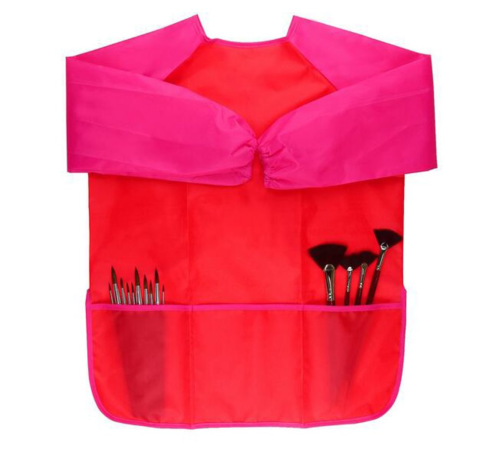 Red Waterproof Children Kids Toddler Painting Baking Cooking Aprons Art Smocks with 3 Pockets for Age 2-6 years Flyott